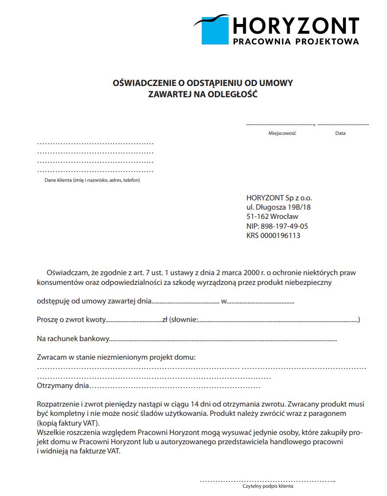 oświadczenie odstąpienia od umowy