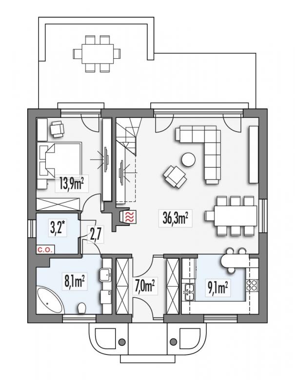 projekt domu - rzut